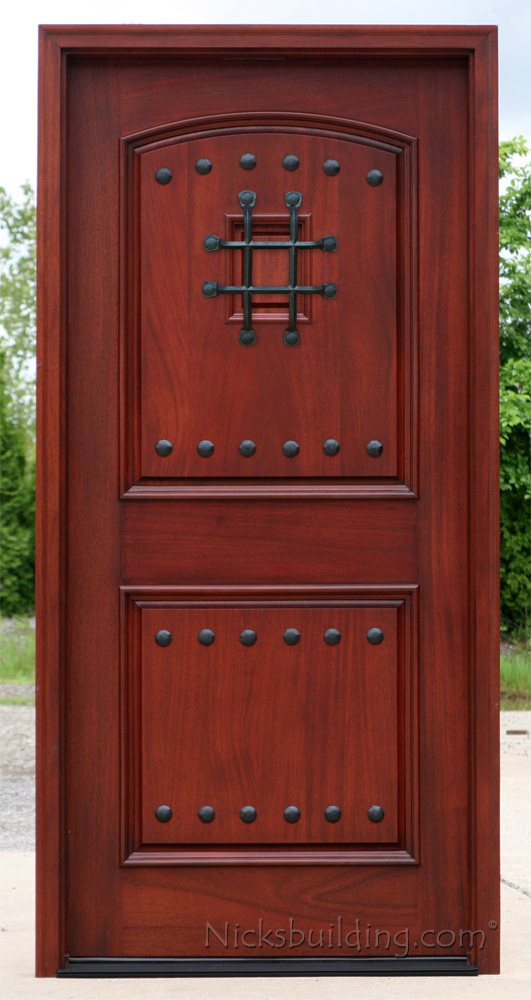 Exterior mahogany single doors with iron nails and grill for Single front entry doors