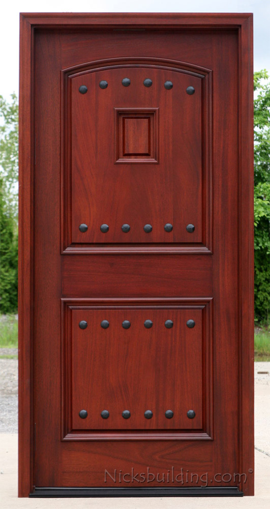 Exterior mahogany single doors with iron nails and grill for Single exterior door