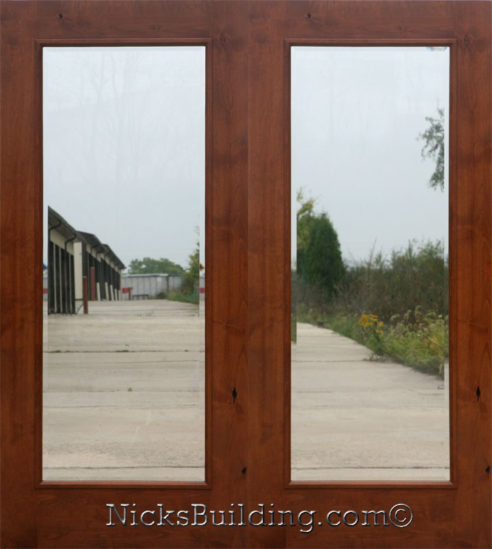 Knotty alder real wood patio doors french doors for Double hung french patio doors