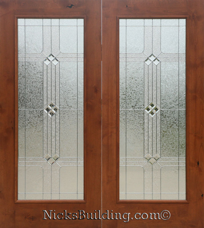 Knotty alder real wood patio doors with builder glass for Double hung french patio doors