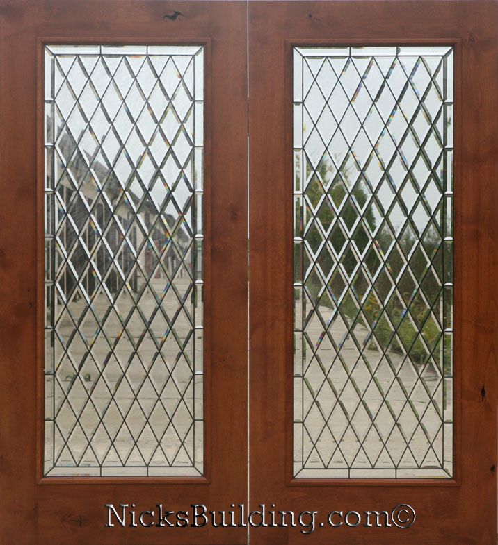 Knotty alder wood patio doors with chateau glass for Double hung french patio doors