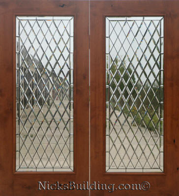 Knotty Alder Wood Patio Doors With Chateau Glass