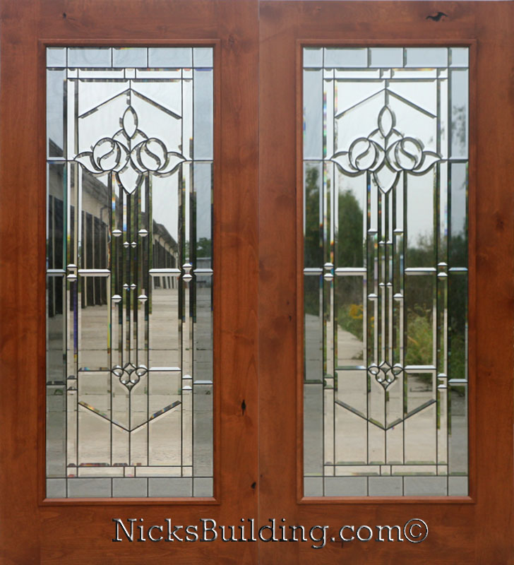 Knotty alder real wood patio doors with mystic glass for Double hung french patio doors