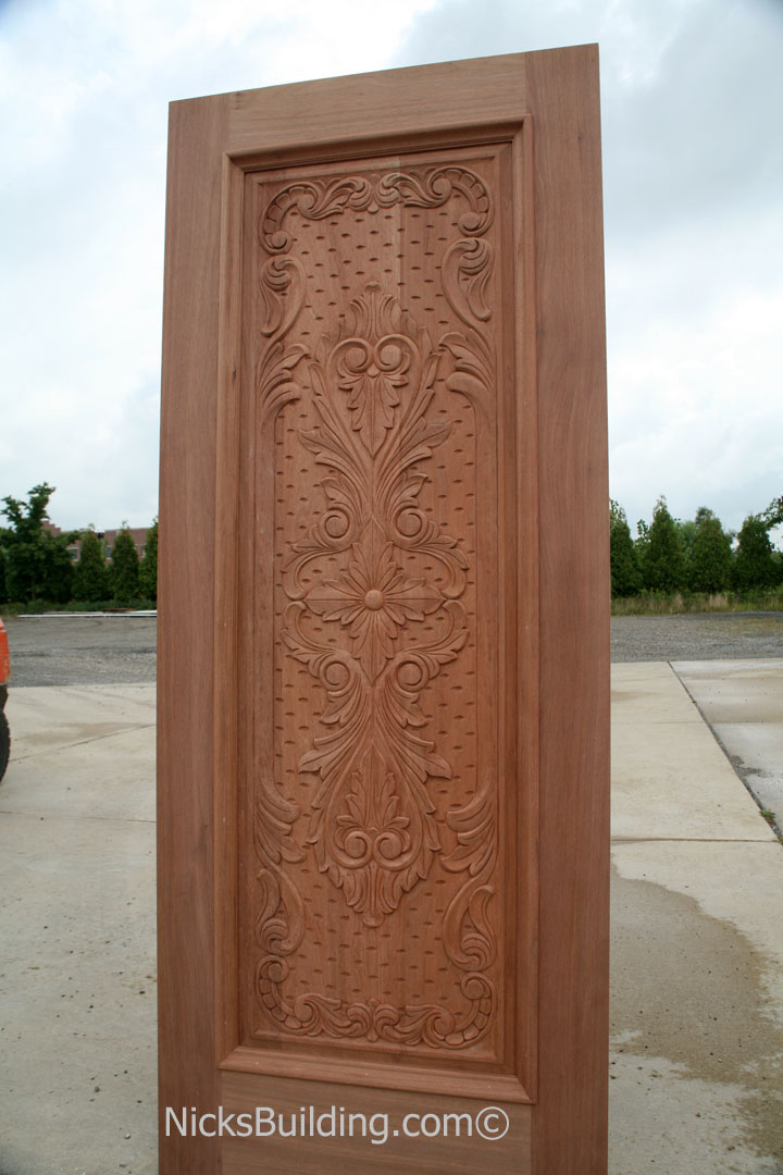 Carved mahogany doors hand