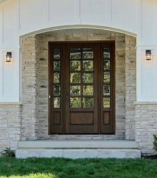 10-Lite Cler Beveled Glass Exterior Mahogany Door with Sidelights