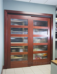 5 lite mahogany bi-pass doors with reeded glass