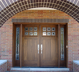 Craftsman Style Double Doors sidelights