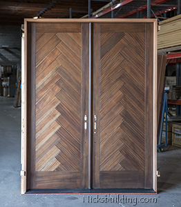 Custom Double Mahogany Doors with Harringbone Pattern