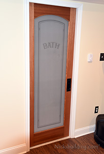 Custom Frosted Glass Pocket Door for Bathroom