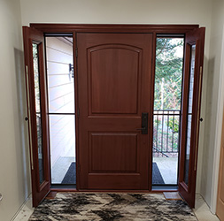 Elk Door inside with Open Venting sidelights