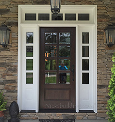 8-lite mahogany door with painted sidelites