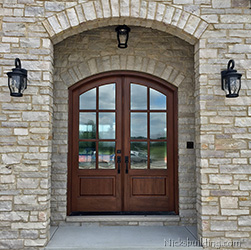 arched top double doors seedy glass
