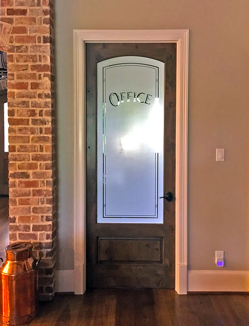 Media Bend office door with drop-out logo. Front view ... |Frosted Glass Office Doors