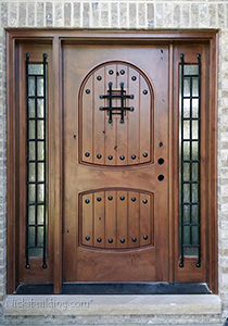 knotty alder door with sidelights