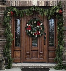 Mahogany front doors with sidelights