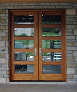 ac501 exterior shaker style double doors with clear glass and 3 point locking system - Modern Exterior Double Doors