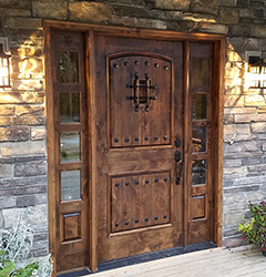 rustic exterior door with operable sidelite