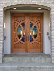 contemporary exterior double doors with beautiful glass design