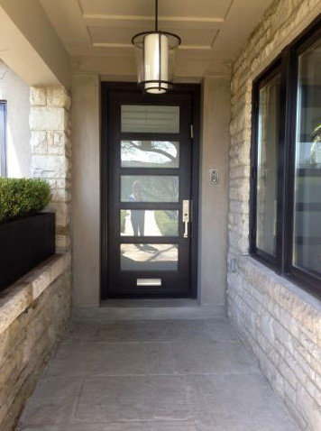 118 modern entry door with frosted glass and mail slot
