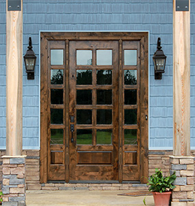 Rustic Glass Door with Sidelights