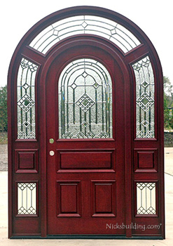 arched top entry door with glass surround transom