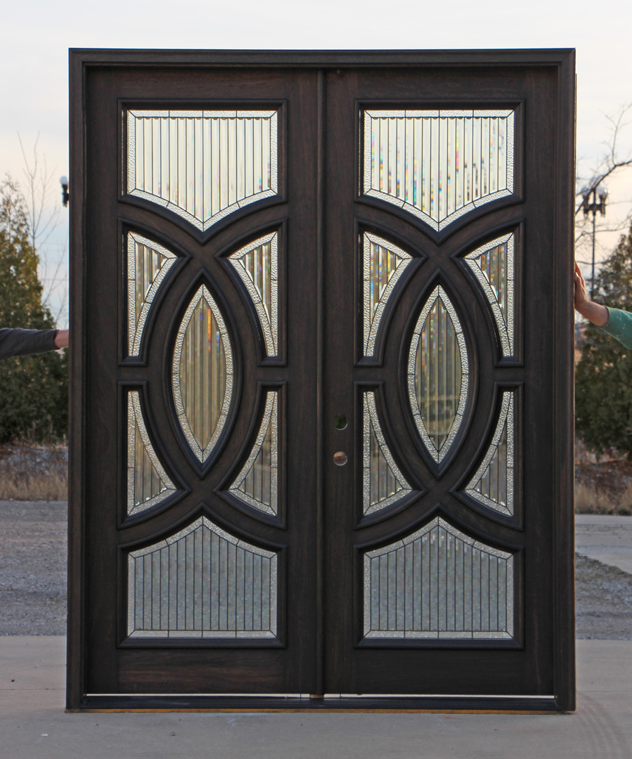 Exterior mahogany double doors in ebony for Exterior front entry double doors