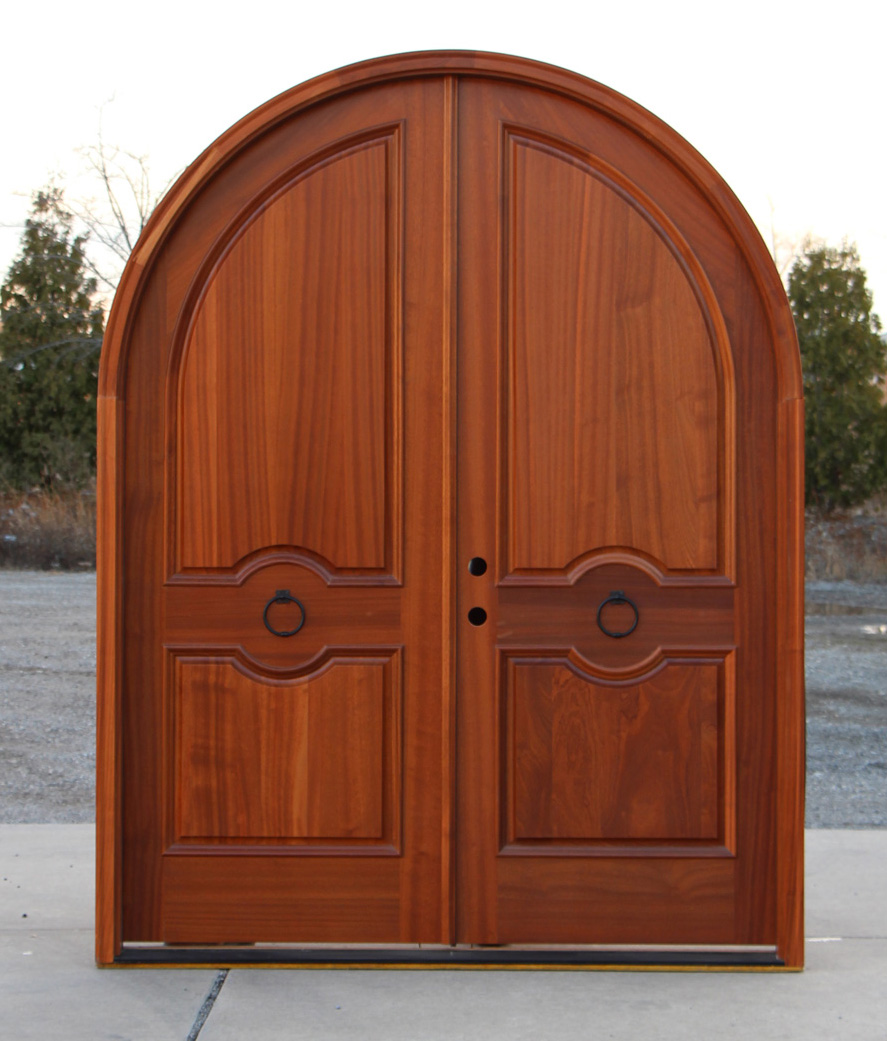 Arched double doors exterior mahogany for Arch door design