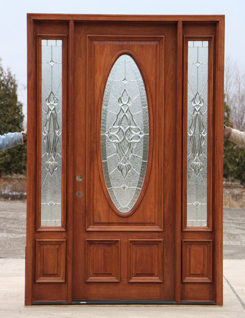 8 39 0 mahogany front door and sidelights for Entry doors with glass