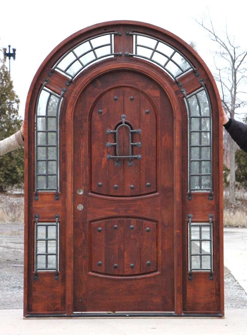 Rustic Round Top Doors With Wrought Iron