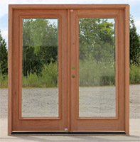 Clearance double doors with clear beveled glass