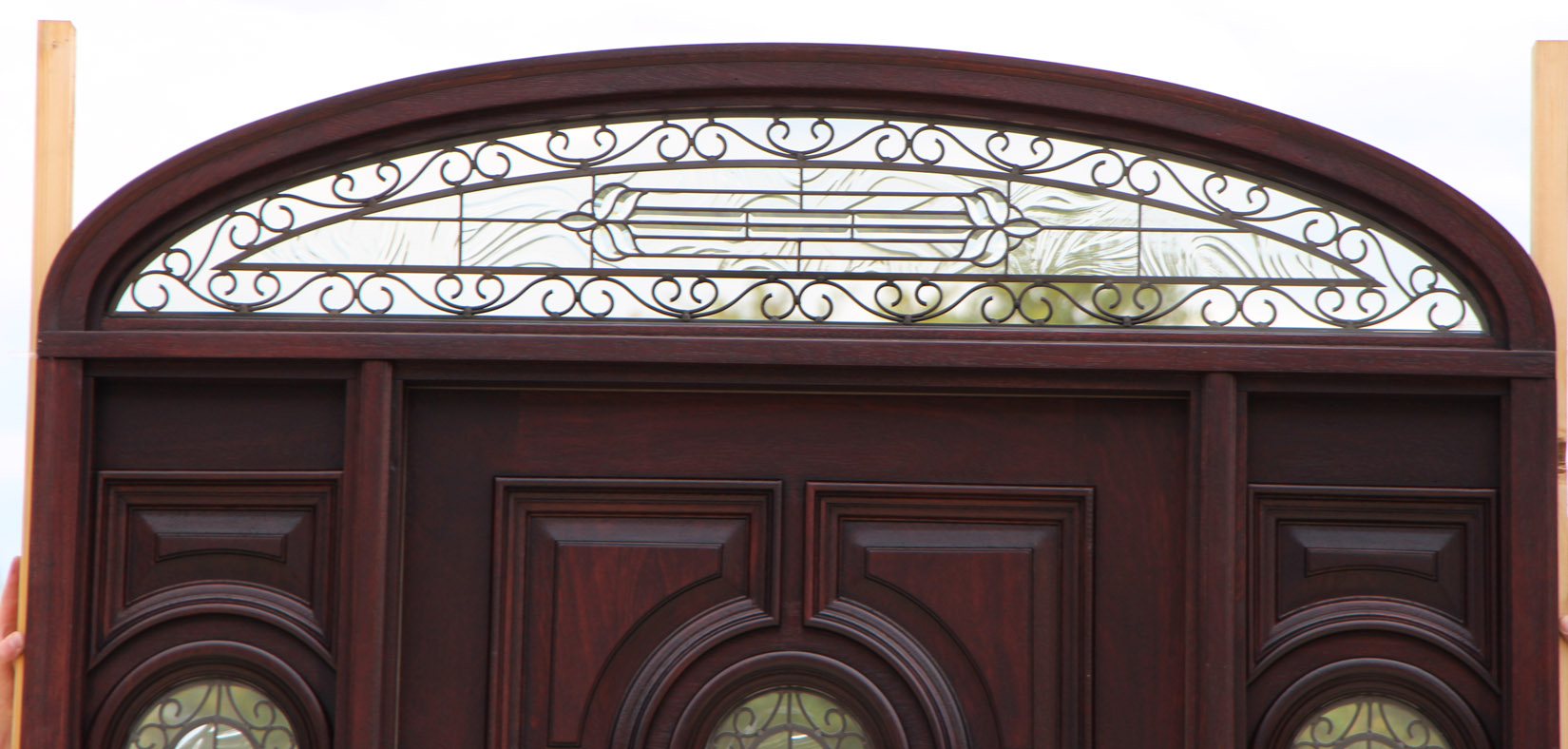 788 #996C32 Exterior Door With Sidelights And Elliptical Transom image Exterior Doors With Sidelights And Transoms 39031650