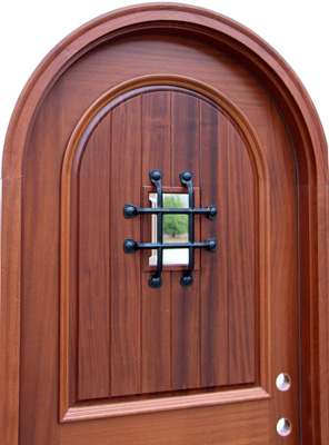 mahogany arched door closeup picture