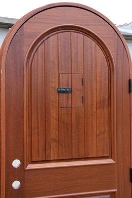mahogany arched door inside view