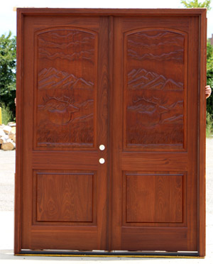 Elk Carved Double Doors in shade