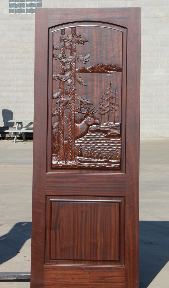 Carved Mahogany Door with Elk Theme