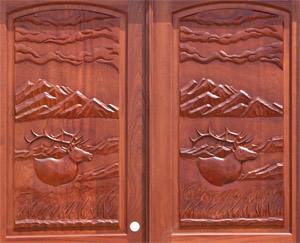 Elk carved door panels