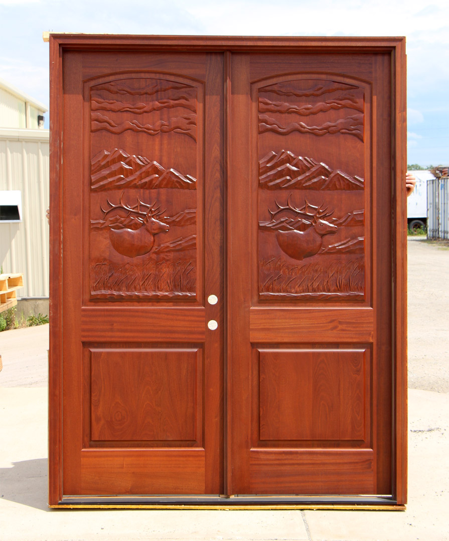 Elk Carved Double Doors Hand Carved Elk Doors