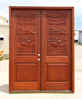 CL-Double Doors with Carved Elk design