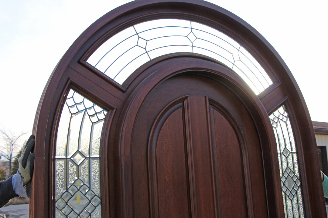 Mahogany Round Top Doors Closeup