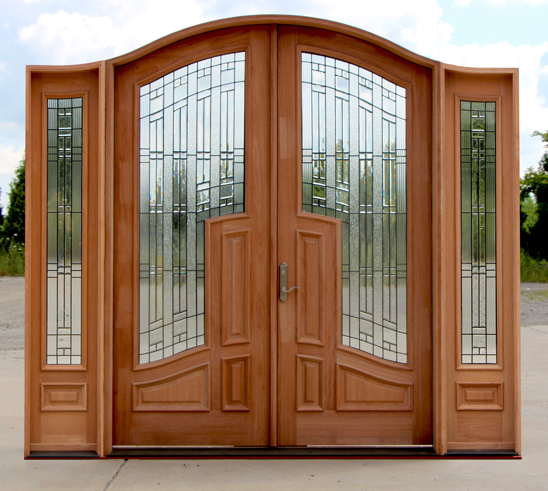 1000 #7E411E Arched Double Doors With Sidelights And 3 Point Locking Mechanism save image Arched Double Entry Doors 40771115