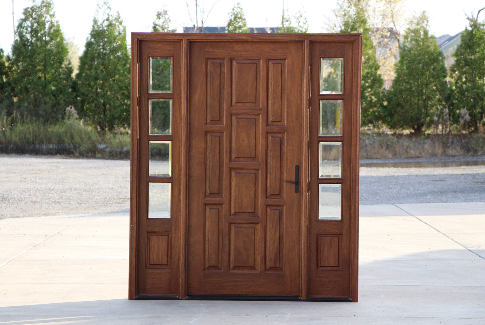 Exterior mahogany door with sidelights for Exterior front entry wood doors with glass