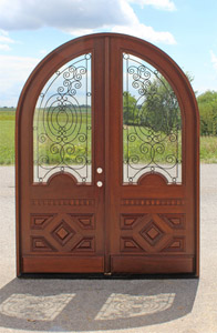 Arched Doors with Wrought Iron
