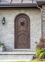 rustic round top entry door