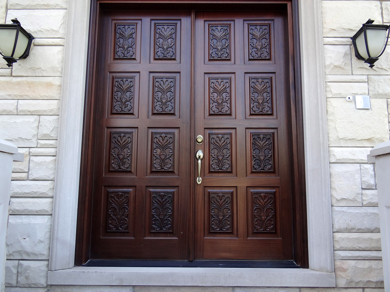 Double entry doors with sidelights - Carved Double Doors