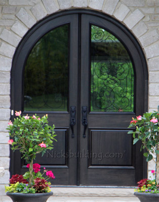 Custom Made Arched top Double Doors with Wrought Iron