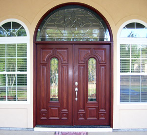 Double Doors with Half Round Transom Majestic Glass