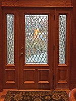 Mahogany front door from the inside looking out