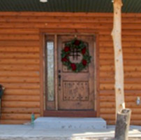 rustic door on cabin