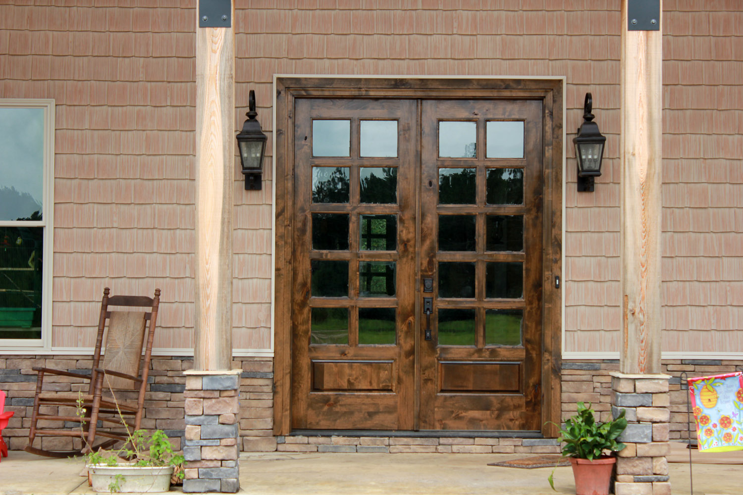 Rustic patio doors in knotty alder wood for French door style patio doors