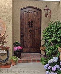 exterior door rustic arched knotty alder with speakeasy and clavos decorations